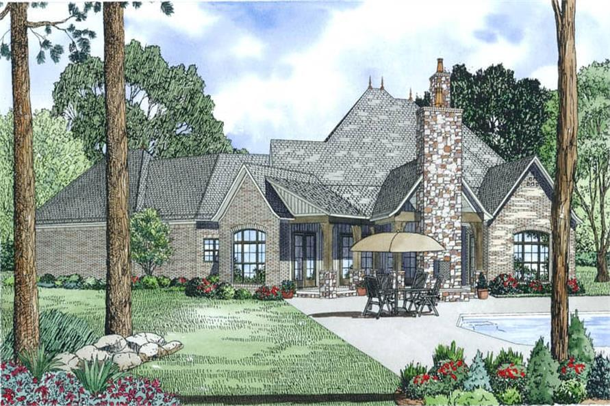 Home Plan Rear Elevation of this 4-Bedroom,3752 Sq Ft Plan -153-1989