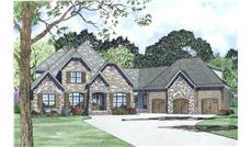 Front Elevation of this Luxury House (#153-1989) at The Plan Collection.