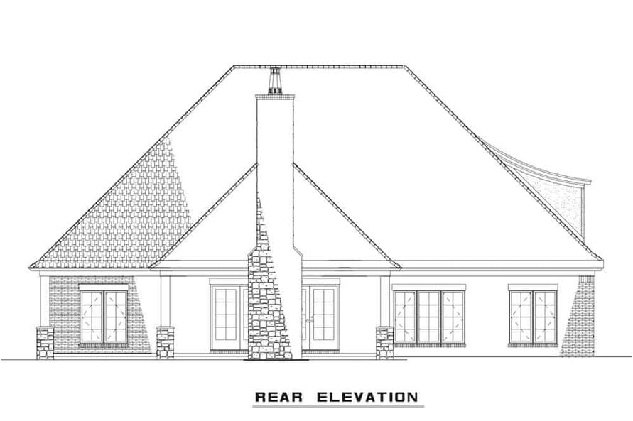 Home Plan Rear Elevation of this 4-Bedroom,3084 Sq Ft Plan -153-1990