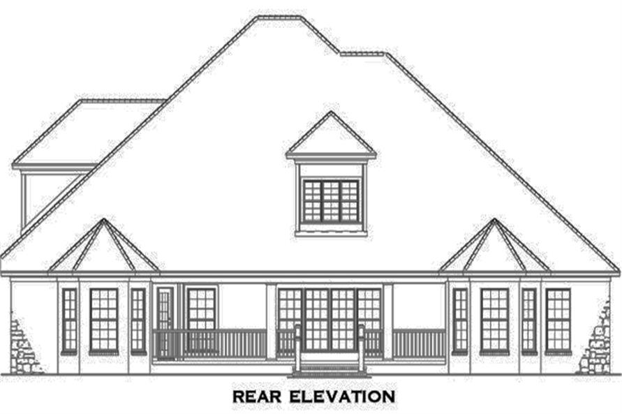 Home Plan Rear Elevation of this 4-Bedroom,3083 Sq Ft Plan -153-1990
