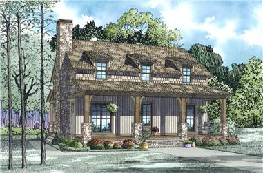 Color rendering of Country home plan (ThePlanCollection: House Plan #153-1991)