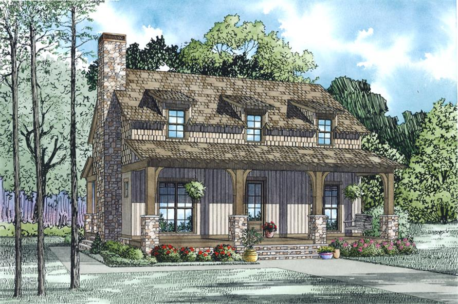 Front Elevation of this Country House (#153-1991) at The Plan Collection.