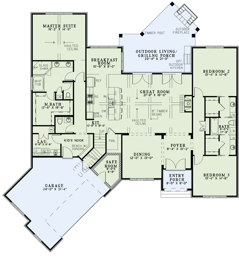 House plan 153 1992 3 bdrm 2 408 sq ft french home for Great room floor plans single story