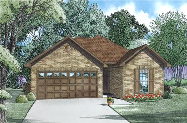 Front Elevation of this Ranch House (#153-1994) at The Plan Collection.