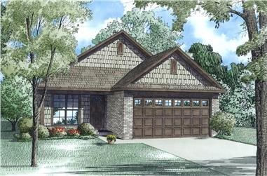Front Elevation of this Ranch House (#153-1995) at The Plan Collection.