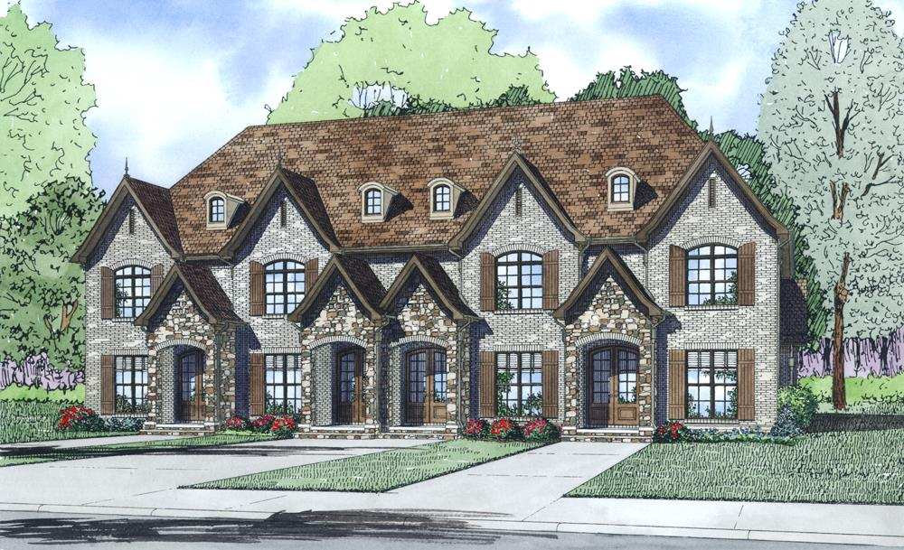 Front Elevation of this Multi-Unit House (#153-1997) at The Plan Collection.