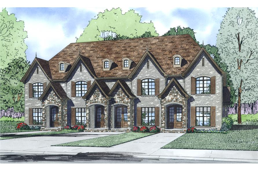 2-Bedroom, 1510 Sq Ft Multi-Unit House Plan - 153-1997 - Front Exterior
