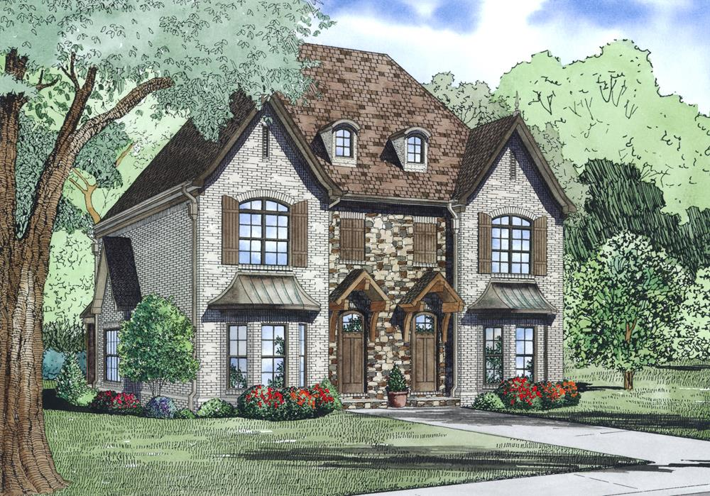 Front Elevation of this Multi-Unit House (#153-1999) at The Plan Collection.