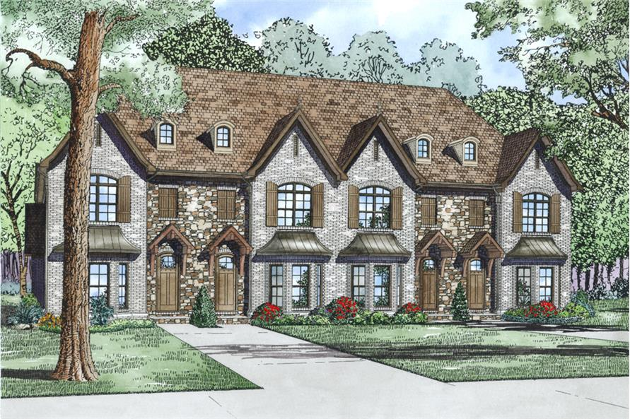 2-Bedroom, 1602 Sq Ft Multi-Unit House Plan - 153-2000 - Front Exterior