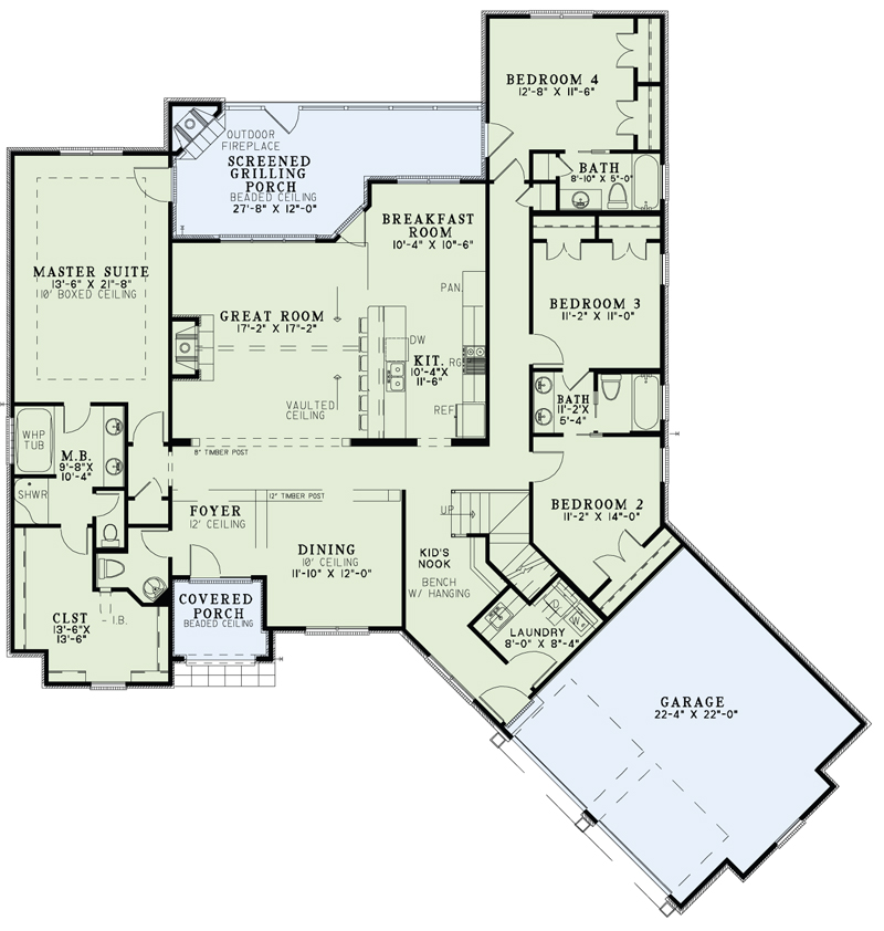 House plan 153 2001 4 bdrm 2 527 sq ft craftsman home for Main level floor plans