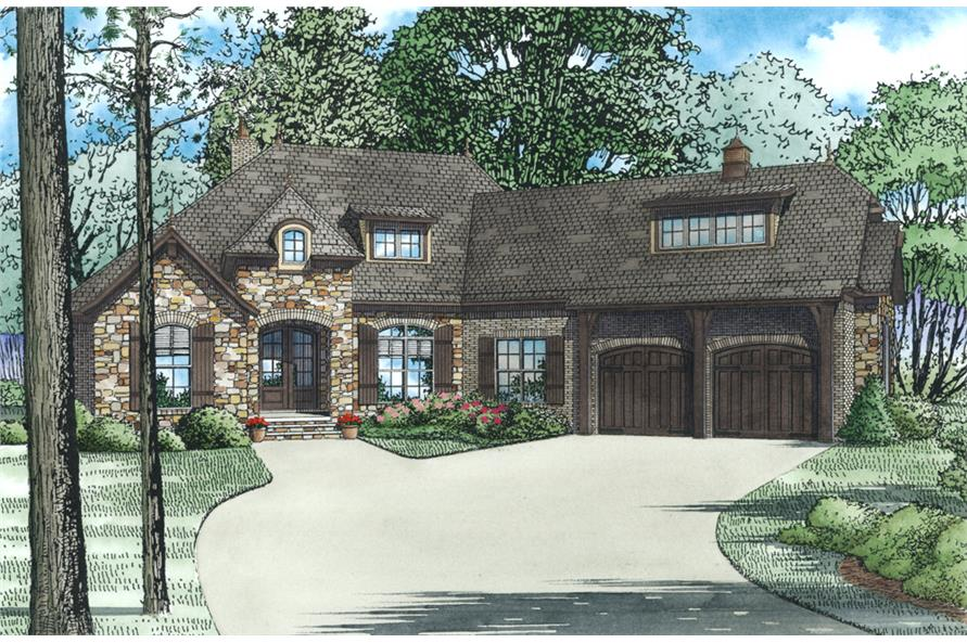 Front Elevation of this Craftsman House (#153-2001) at The Plan Collection.