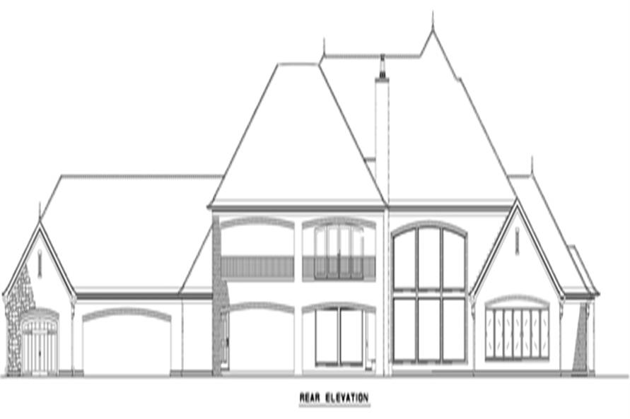 Home Plan Rear Elevation of this 4-Bedroom,5043 Sq Ft Plan -153-2002