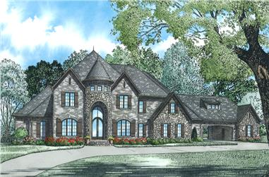 Front Elevation of this Luxury House (#153-2002) at The Plan Collection.