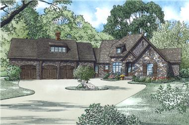 Front Elevation of this Luxury House (#153-2003) at The Plan Collection.