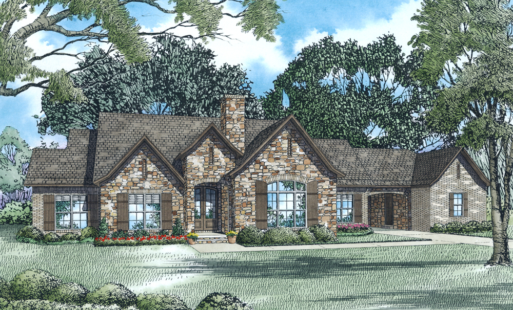 French Country House Plans With Porte Cochere  French Country House