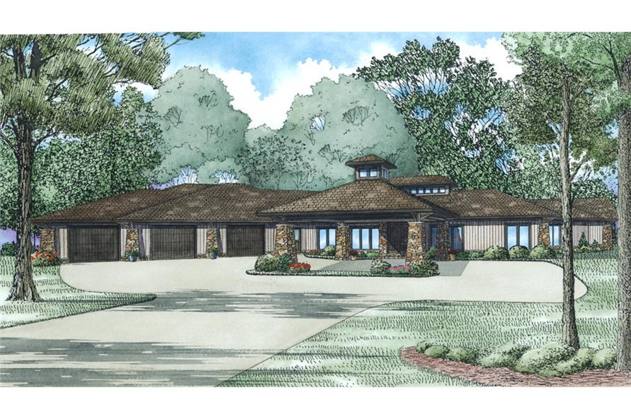 Front rendering of Contemporary home plan (ThePlanCollection: House Plan #153-2005)