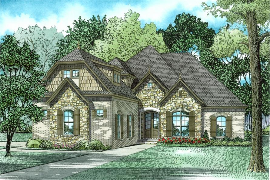 Front Elevation of this French House (#153-2006) at The Plan Collection.