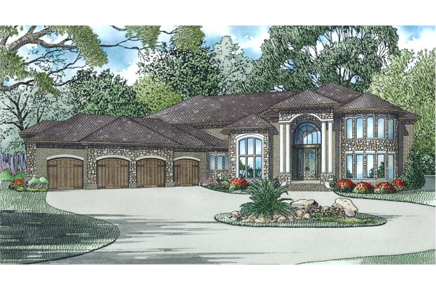 Front Elevation of this Luxury House (#153-2011) at The Plan Collection.