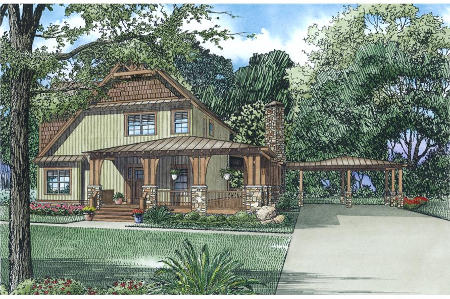 Front Elevation of this Craftsman House (#153-2012) at The Plan Collection.