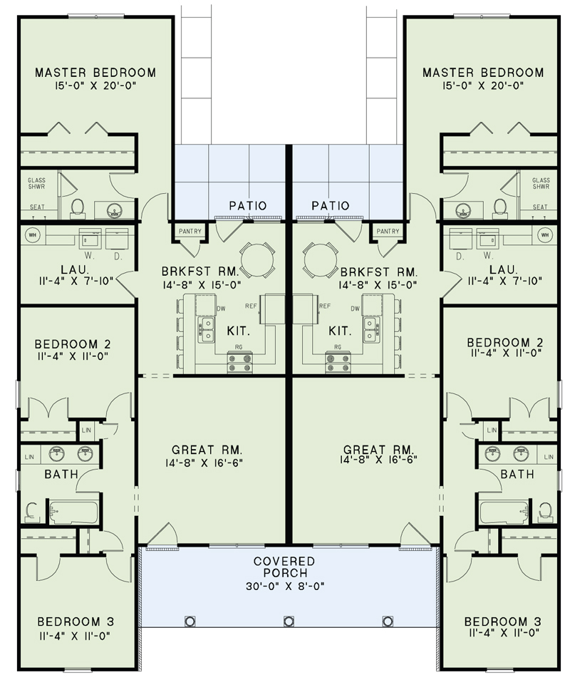 Duplex plan 153 2014 2 units 3 bdrm 1 344 sq ft multi for 3 unit house plans