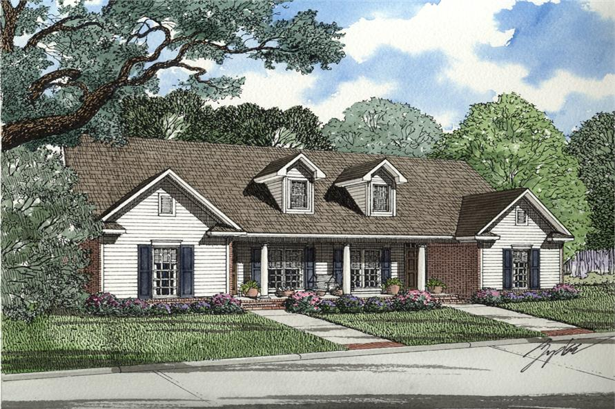 3-Bedroom, 1344 Sq Ft Multi-Unit House Plan - 153-2014 - Front Exterior