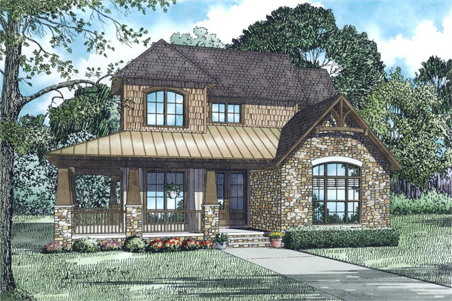 Front Elevation of this Craftsman House (#153-2015) at The Plan Collection.
