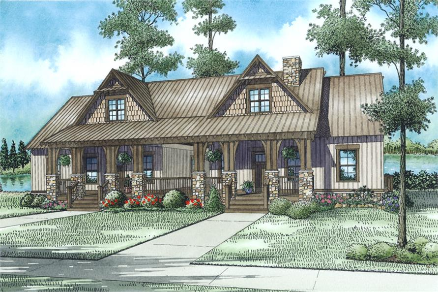 Front Elevation of this Multi-Unit House (#153-2016) at The Plan Collection.