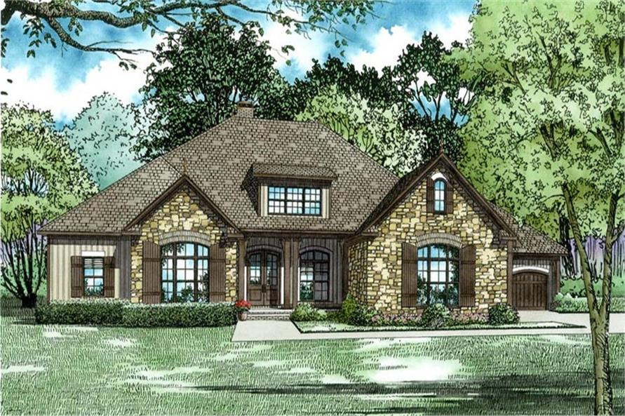 Front Elevation of this Luxury House (#153-2021) at The Plan Collection.