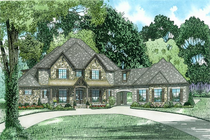 Front Elevation of this Luxury House (#153-2022) at The Plan Collection.