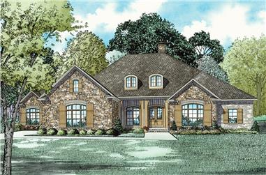 3-Bedroom, 3542 Sq Ft Ranch Home Plan - 153-2023 - Main Exterior