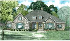 Front Elevation of this Ranch House (#153-2023) at The Plan Collection.