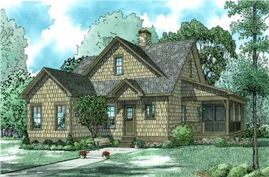 Front Elevation of this Farmhouse (#153-2024) at The Plan Collection.