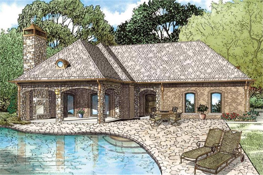 Color rendering of European home plan (ThePlanCollection: House Plan #153-2028)