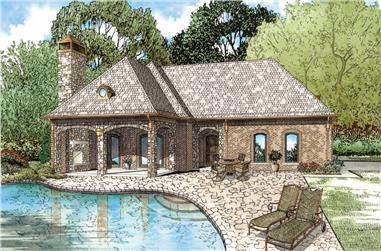 Front Elevation of this Cottage House / Guest House / Pool House / Cabana (#153-2028) at The Plan Collection.