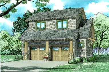 1-Bedroom, 509 Sq Ft Garage w/Apartments Home Plan - 153-2029 - Main Exterior
