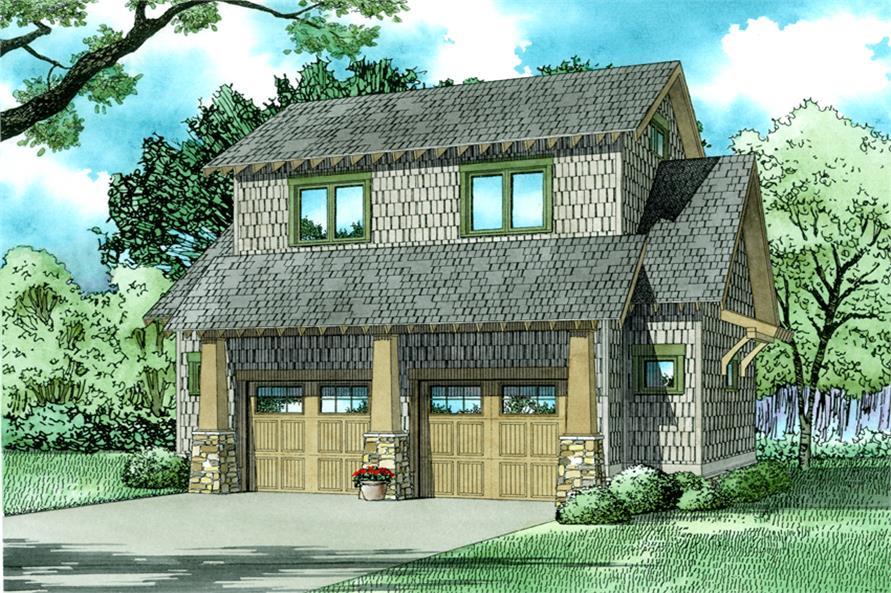 1-Bedroom, 509 Sq Ft Garage w/Apartment Home - Plan #153-2029 - Main Exterior