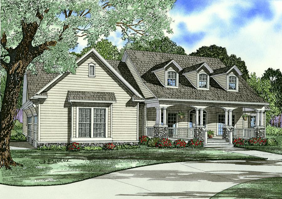 Front Elevation Farmhouse : Farmhouse floor plan bedrms baths sq ft