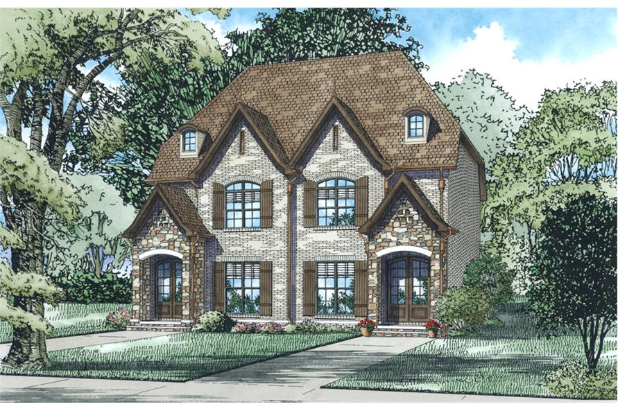 Front elevation of Tudor home (ThePlanCollection: House Plan #153-2034)