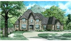Front elevation of European home (ThePlanCollection: House Plan #153-2035)