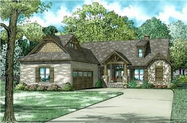 Color rendering of Arts and Crafts home plan (ThePlanCollection: House Plan #153-2036)