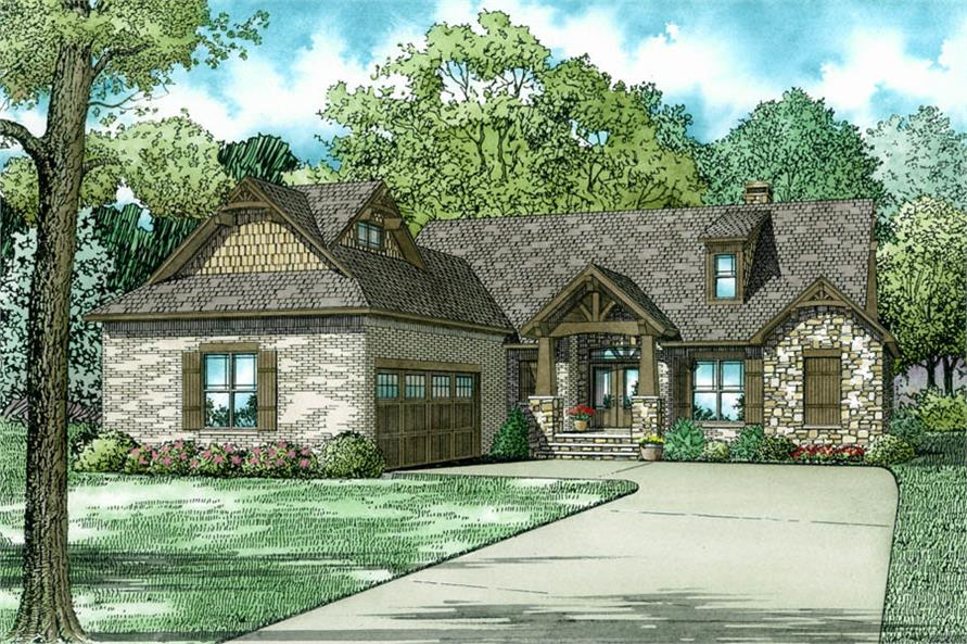 good arts and crafts home plans #10: #153-2036 · Color rendering of Arts and Crafts home plan  (ThePlanCollection: House Plan #153-