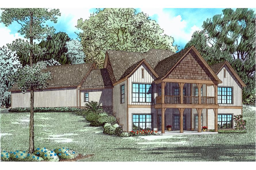 153-2037: Home Plan Rear Elevation