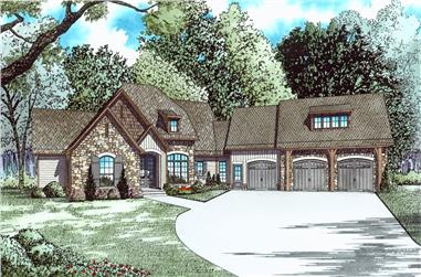 4-Bedroom, 4264 Sq Ft Country Home Plan - 153-2037 - Main Exterior