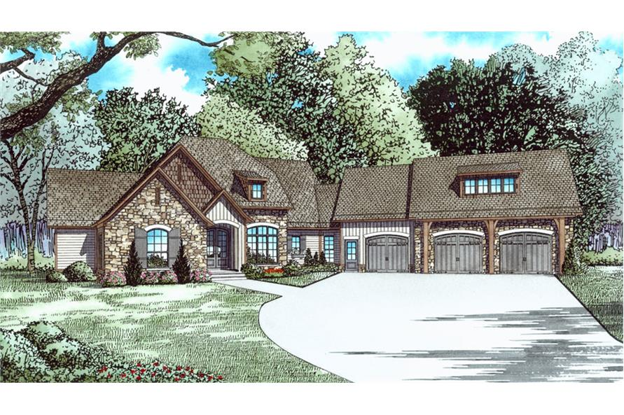 Front elevation of Country home (ThePlanCollection: House Plan #153-2037)