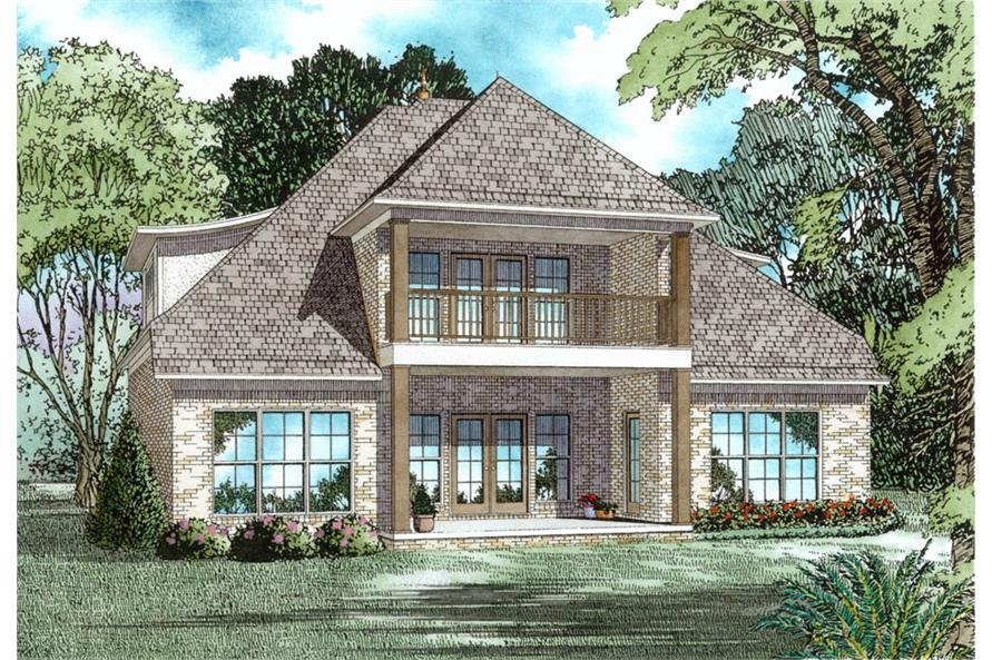 153-2038: Home Plan Rear Elevation
