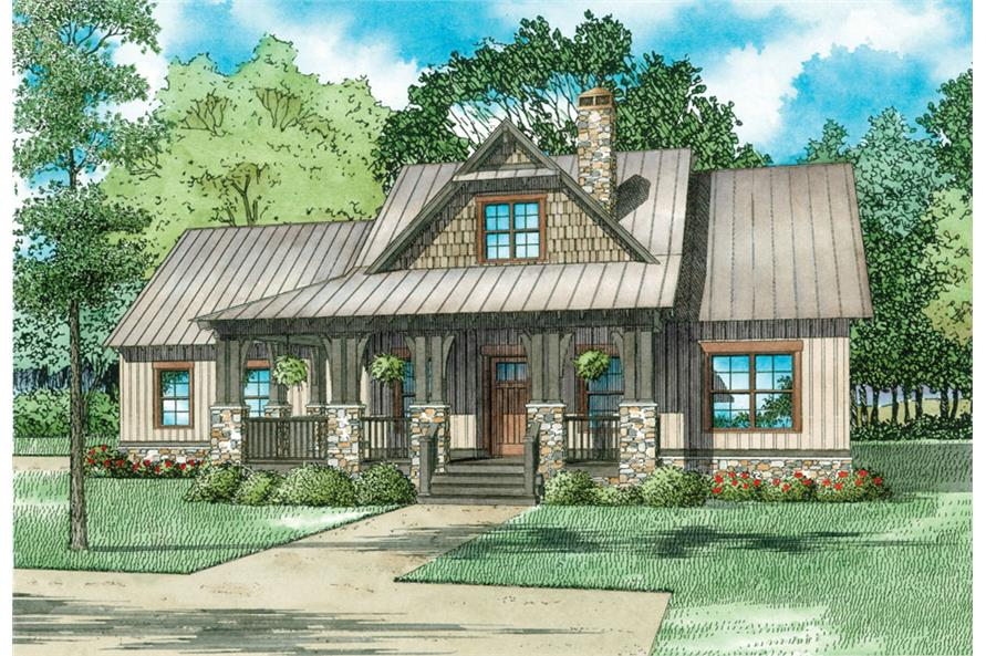 Front elevation of Craftsman home (ThePlanCollection: House Plan #153-2039)
