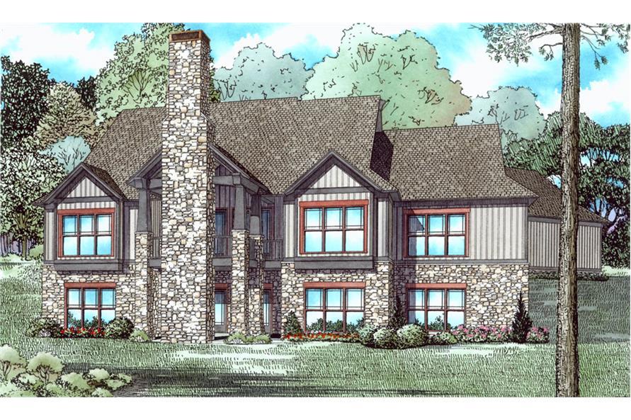 153-2040: Home Plan Rear Elevation