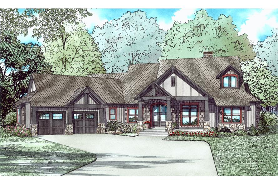 Front elevation of Country home (ThePlanCollection: House Plan #153-2040)