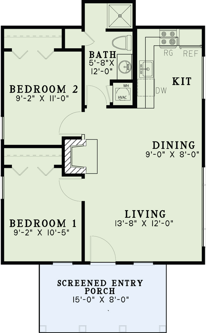 2 Bedroom Bi Level Home With Open Living: Cottage House Plan