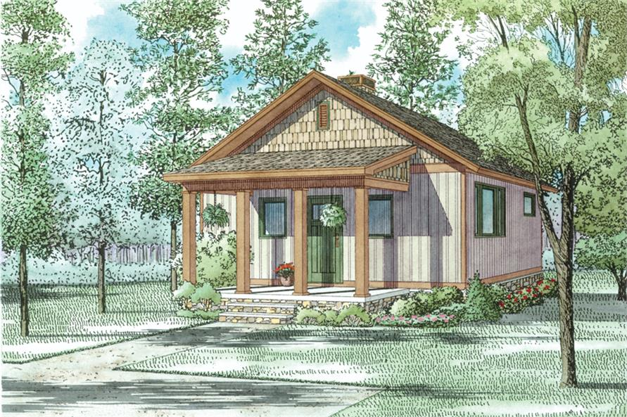 Front elevation of Cottage home (ThePlanCollection: House Plan #153-2041)